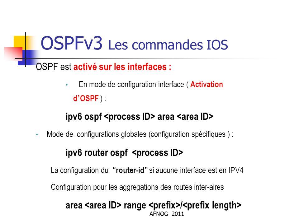 AFNOG 2011 OSPFv3 Les commandes IOS OSPF est activé sur les interfaces : En mode de configuration interface ( Activation d'OSPF ) : ipv6 ospf area Mod