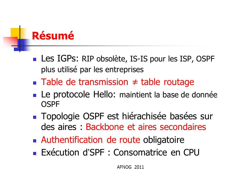 AFNOG 2011 Résumé Les IGPs: RIP obsolète, IS-IS pour les ISP, OSPF plus utilisé par les entreprises Table de transmission ≠ table routage Le protocole