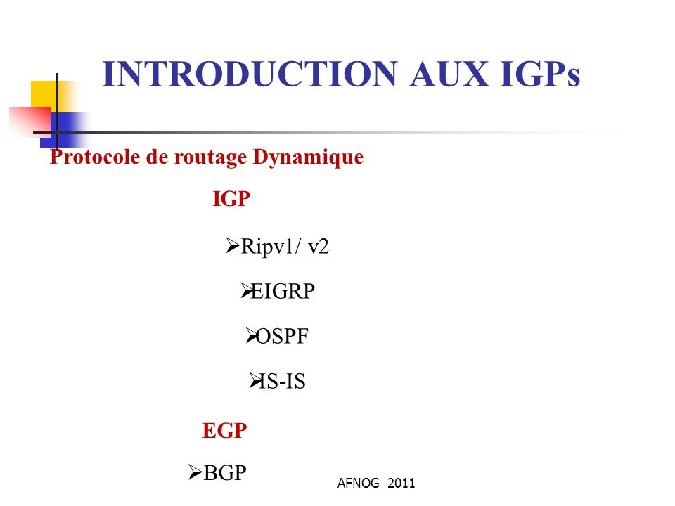 AFNOG 2011 Protocole de routage Dynamique IGP EGP  Ripv1/ v2  EIGRP  OSPF  IS-IS  BGP INTRODUCTION AUX IGPs
