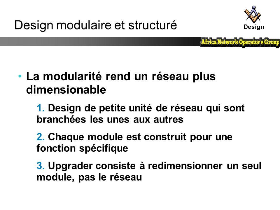 Design modulaire et structuré La modularité rend un réseau plus dimensionable 1. Design de petite unité de réseau qui sont branchées les unes aux autr