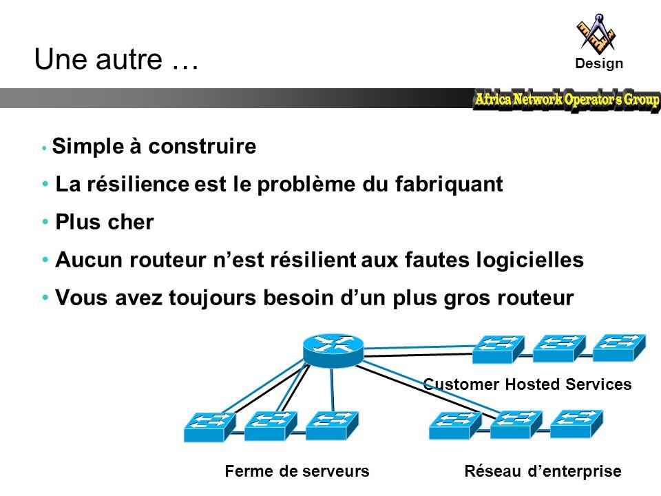 Customer Hosted Services Une autre … Simple à construire La résilience est le problème du fabriquant Plus cher Aucun routeur n'est résilient aux faute