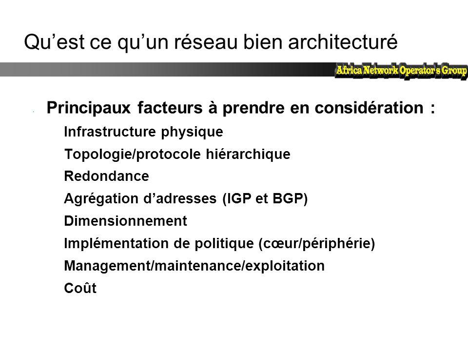Qu'est ce qu'un réseau bien architecturé Principaux facteurs à prendre en considération : Infrastructure physique Topologie/protocole hiérarchique Red