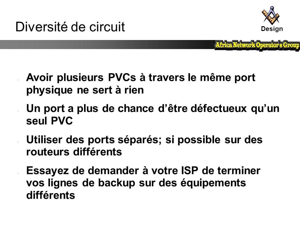 Diversité de circuit Avoir plusieurs PVCs à travers le même port physique ne sert à rien Un port a plus de chance d'être défectueux qu'un seul PVC Uti