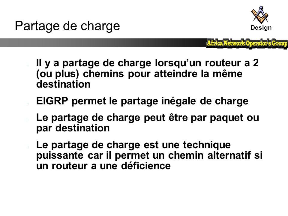 Partage de charge Il y a partage de charge lorsqu'un routeur a 2 (ou plus) chemins pour atteindre la même destination EIGRP permet le partage inégale