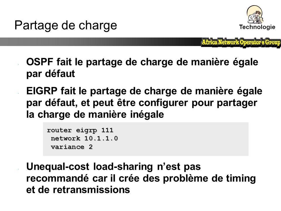 OSPF fait le partage de charge de manière égale par défaut EIGRP fait le partage de charge de manière égale par défaut, et peut être configurer pour p