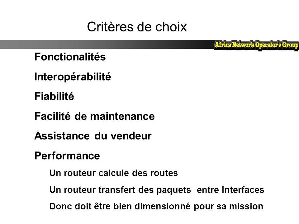 Critères de choix Fonctionalités Interopérabilité Fiabilité Facilité de maintenance Assistance du vendeur Performance Un routeur calcule des routes Un