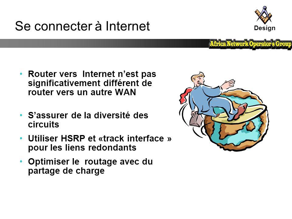 Se connecter à Internet Router vers Internet n'est pas significativement différent de router vers un autre WAN S'assurer de la diversité des circuits