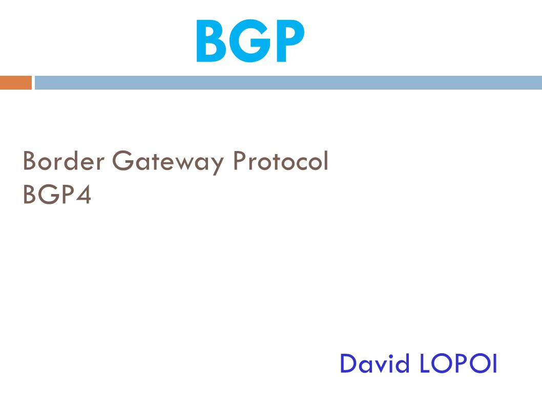 Border Gateway Protocol BGP4 David LOPOI BGP