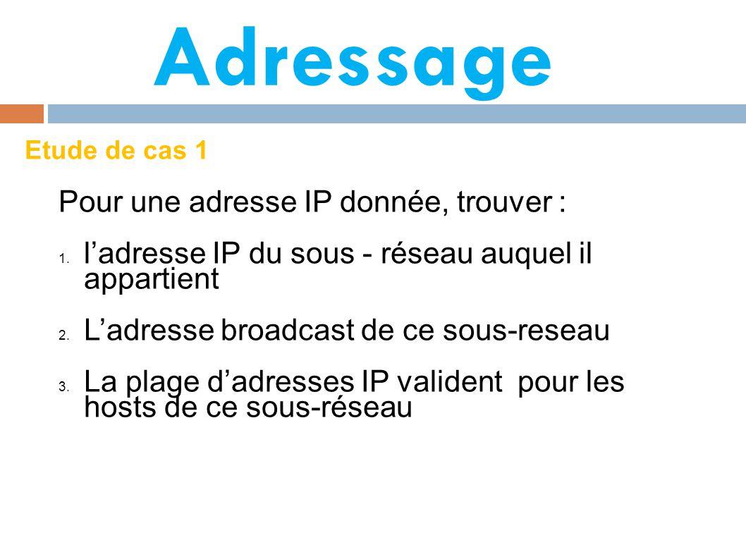 Adressage Etude de cas 1 Pour une adresse IP donnée, trouver : 1.