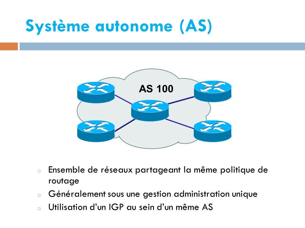 Système autonome (AS) o Ensemble de réseaux partageant la même politique de routage o Généralement sous une gestion administration unique o Utilisation d'un IGP au sein d'un même AS AS 100