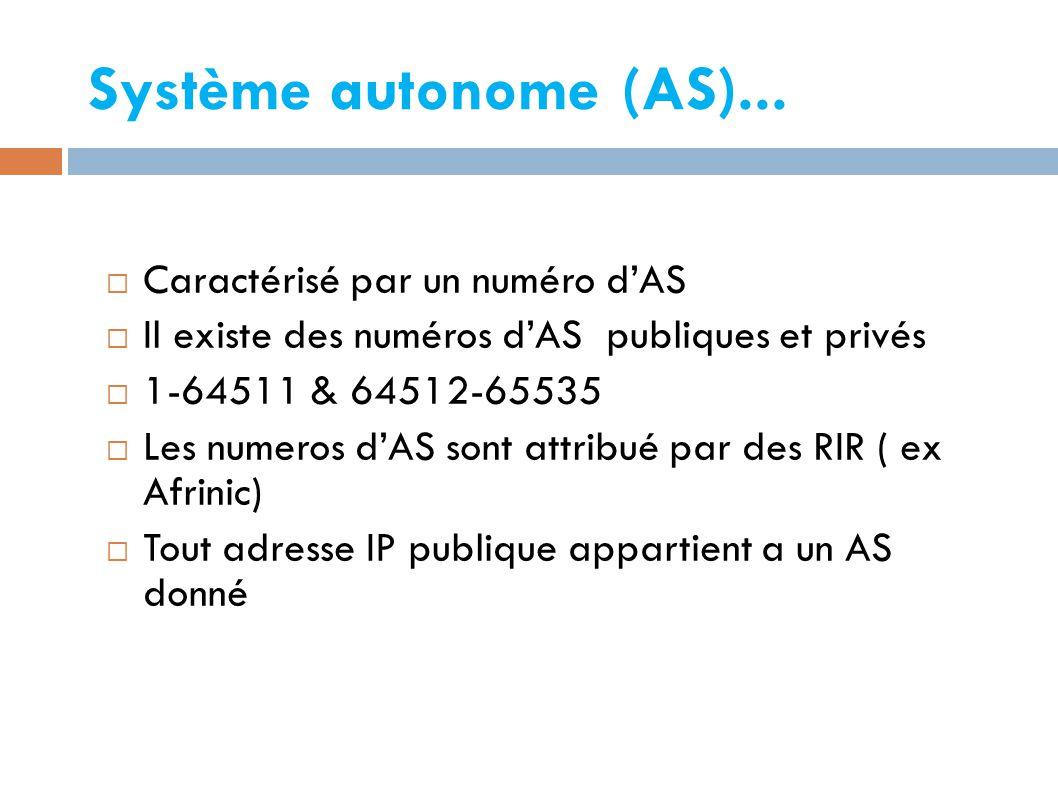 Système autonome (AS)...
