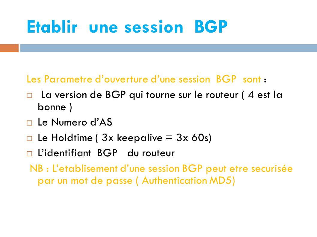 Etablir une session BGP Les Parametre d'ouverture d'une session BGP sont :  La version de BGP qui tourne sur le routeur ( 4 est la bonne )  Le Numero d'AS  Le Holdtime ( 3x keepalive = 3x 60s)  L'identifiant BGP du routeur NB : L'etablisement d'une session BGP peut etre securisée par un mot de passe ( Authentication MD5)