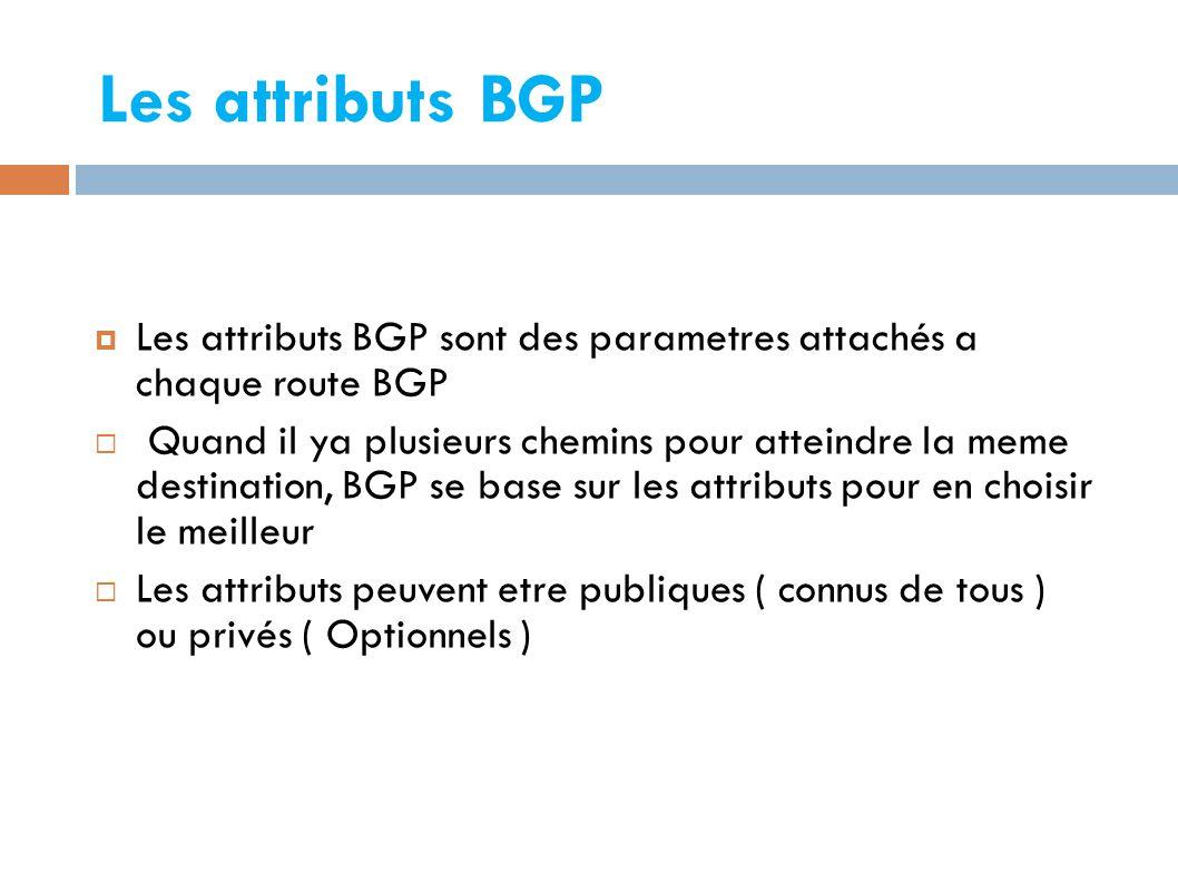 Les attributs BGP  Les attributs BGP sont des parametres attachés a chaque route BGP  Quand il ya plusieurs chemins pour atteindre la meme destination, BGP se base sur les attributs pour en choisir le meilleur  Les attributs peuvent etre publiques ( connus de tous ) ou privés ( Optionnels )