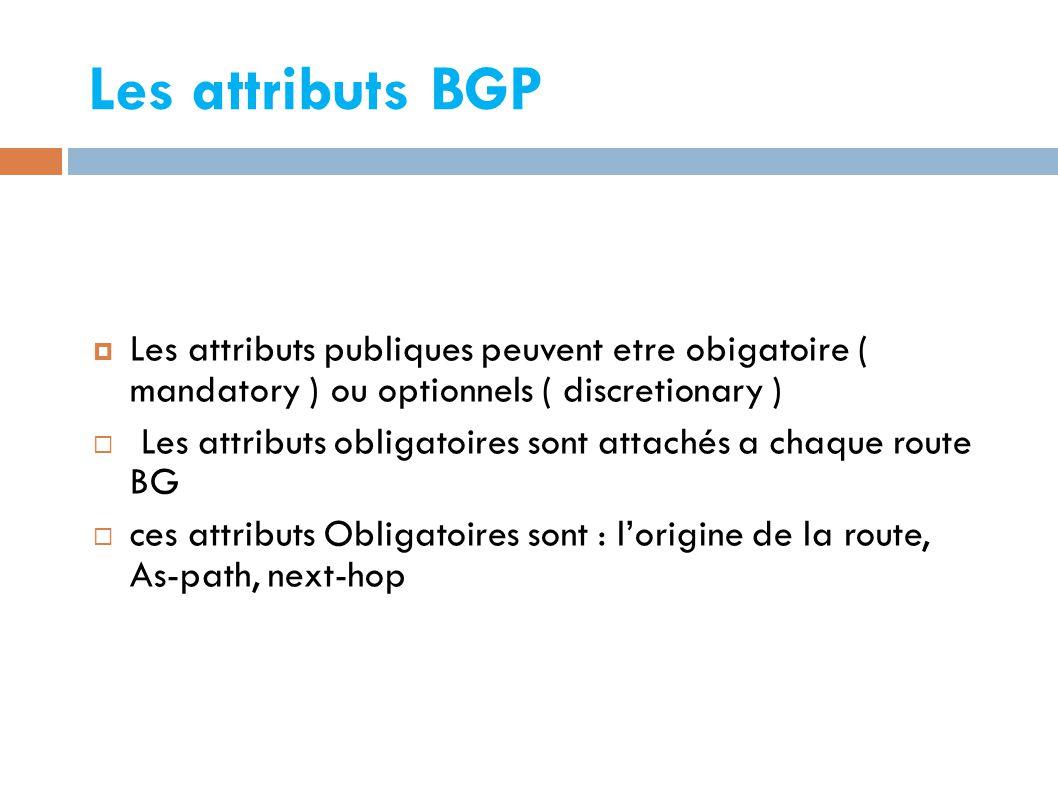 Les attributs BGP  Les attributs publiques peuvent etre obigatoire ( mandatory ) ou optionnels ( discretionary )  Les attributs obligatoires sont attachés a chaque route BG  ces attributs Obligatoires sont : l'origine de la route, As-path, next-hop