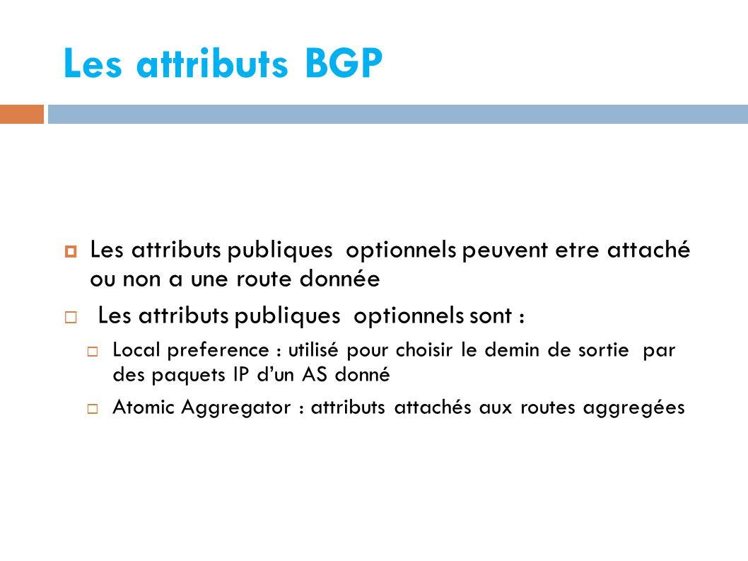 Les attributs BGP  Les attributs publiques optionnels peuvent etre attaché ou non a une route donnée  Les attributs publiques optionnels sont :  Local preference : utilisé pour choisir le demin de sortie par des paquets IP d'un AS donné  Atomic Aggregator : attributs attachés aux routes aggregées