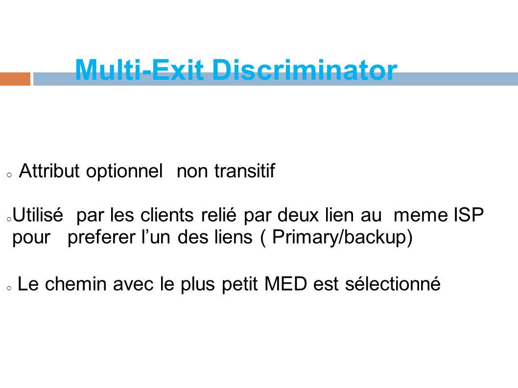 Multi-Exit Discriminator o Attribut optionnel non transitif o Utilisé par les clients relié par deux lien au meme ISP pour preferer l'un des liens ( Primary/backup) o Le chemin avec le plus petit MED est sélectionné