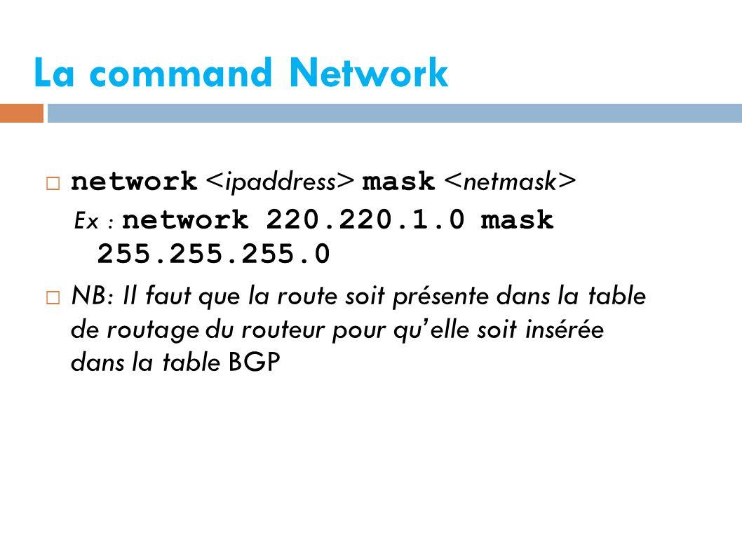 La command Network  network mask Ex : network 220.220.1.0 mask 255.255.255.0  NB: Il faut que la route soit présente dans la table de routage du routeur pour qu'elle soit insérée dans la table BGP