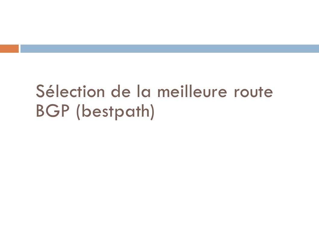 Sélection de la meilleure route BGP (bestpath)