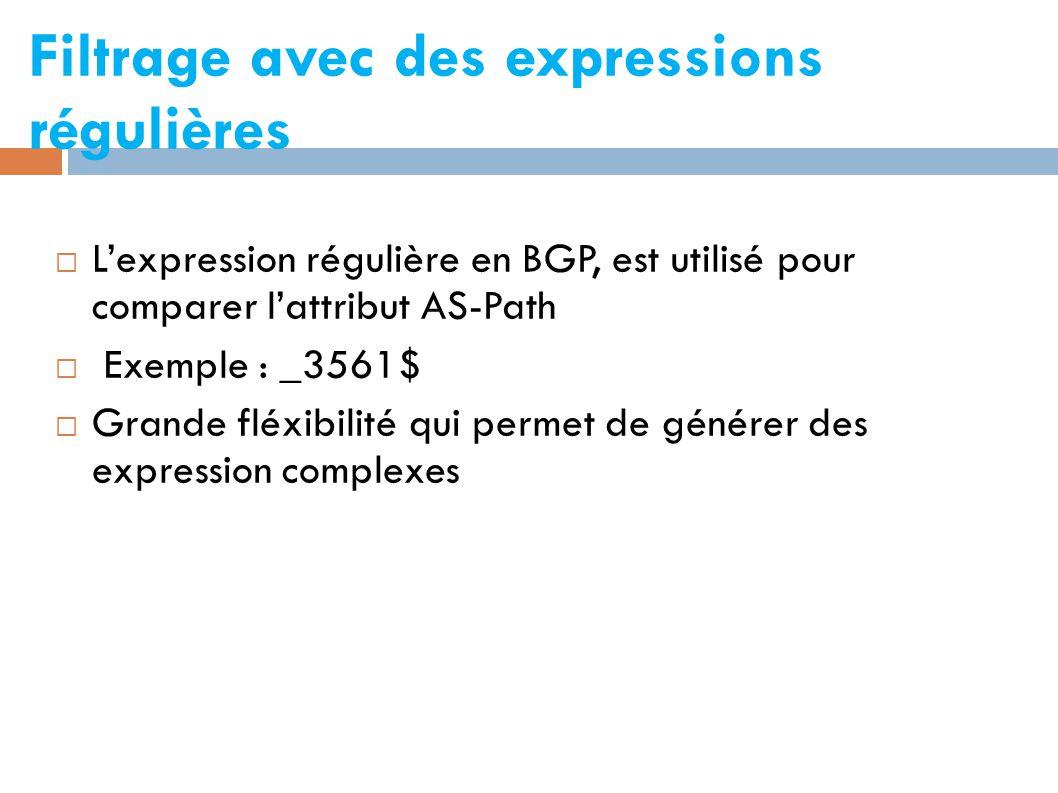 Filtrage avec des expressions régulières  L'expression régulière en BGP, est utilisé pour comparer l'attribut AS-Path  Exemple : _3561$  Grande fléxibilité qui permet de générer des expression complexes