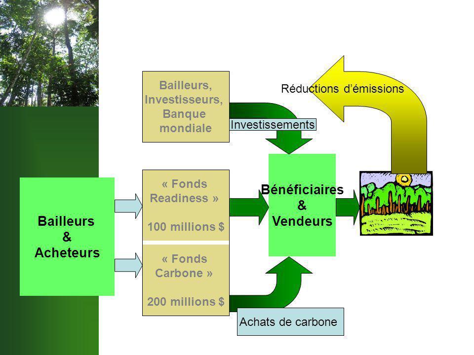 Bailleurs & Acheteurs « Fonds Carbone » 200 millions $ « Fonds Readiness » 100 millions $ Bailleurs, Investisseurs, Banque mondiale Bénéficiaires & Vendeurs Investissements Achats de carbone Réductions d'émissions