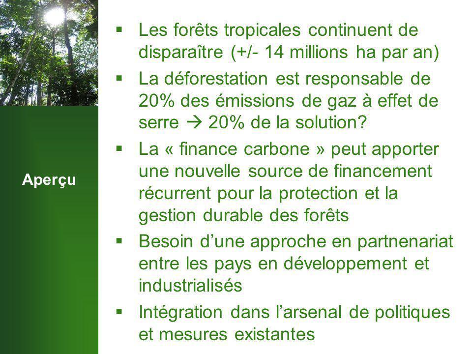 Aperçu  Les forêts tropicales continuent de disparaître (+/- 14 millions ha par an)  La déforestation est responsable de 20% des émissions de gaz à effet de serre  20% de la solution.