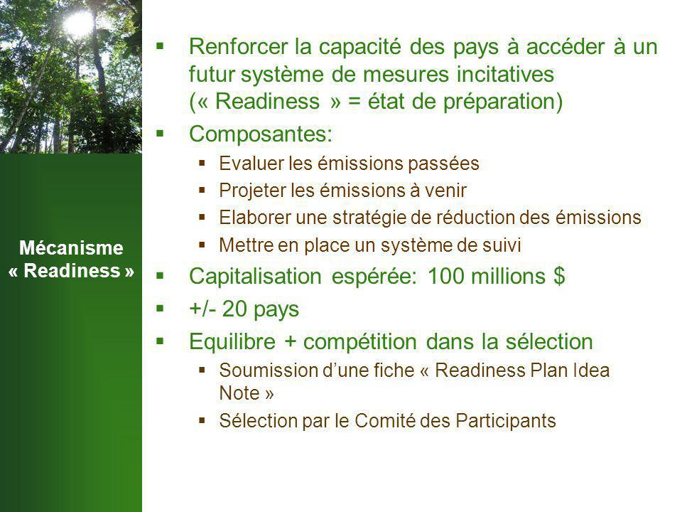 Mécanisme « Readiness »  Renforcer la capacité des pays à accéder à un futur système de mesures incitatives (« Readiness » = état de préparation)  Composantes:  Evaluer les émissions passées  Projeter les émissions à venir  Elaborer une stratégie de réduction des émissions  Mettre en place un système de suivi  Capitalisation espérée: 100 millions $  +/- 20 pays  Equilibre + compétition dans la sélection  Soumission d'une fiche « Readiness Plan Idea Note »  Sélection par le Comité des Participants