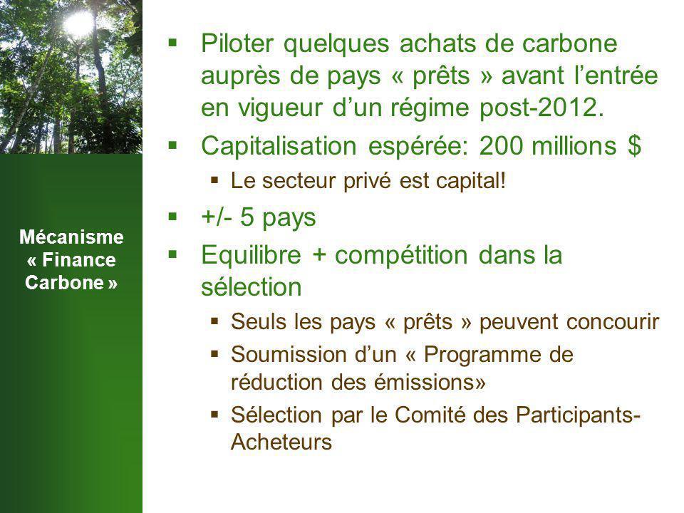 Mécanisme « Finance Carbone »  Piloter quelques achats de carbone auprès de pays « prêts » avant l'entrée en vigueur d'un régime post-2012.