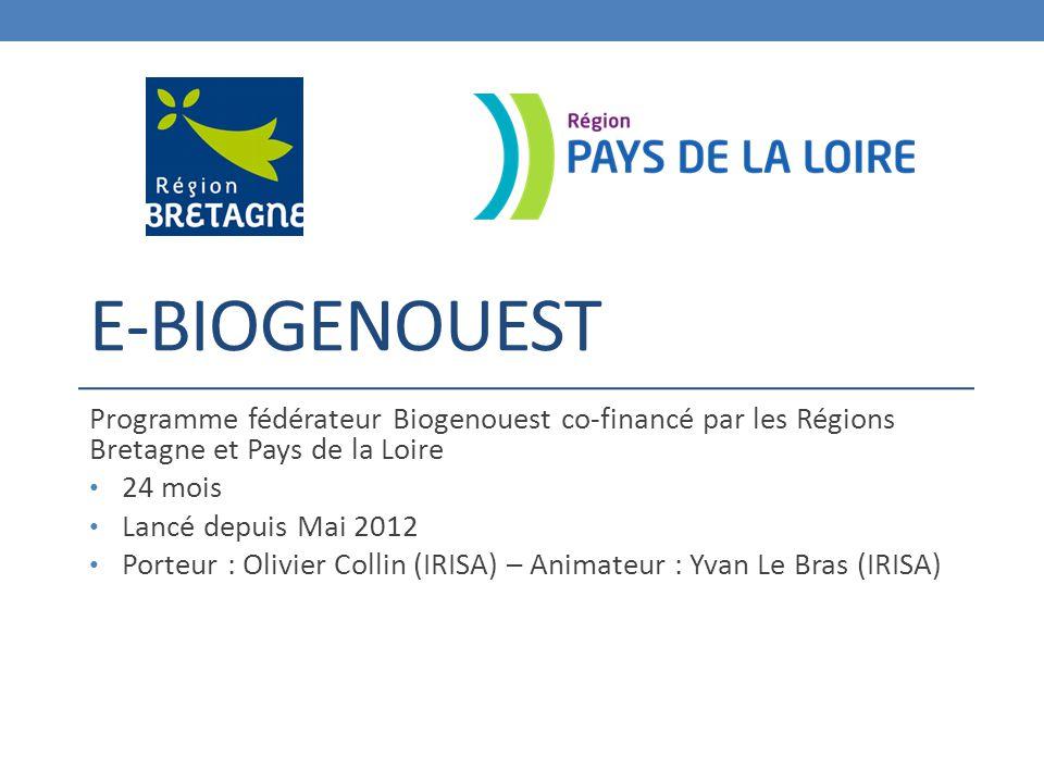 E-BIOGENOUEST Programme fédérateur Biogenouest co-financé par les Régions Bretagne et Pays de la Loire 24 mois Lancé depuis Mai 2012 Porteur : Olivier Collin (IRISA) – Animateur : Yvan Le Bras (IRISA)