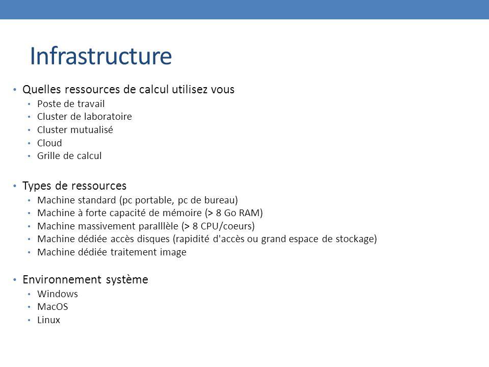 Infrastructure Quelles ressources de calcul utilisez vous Poste de travail Cluster de laboratoire Cluster mutualisé Cloud Grille de calcul Types de re