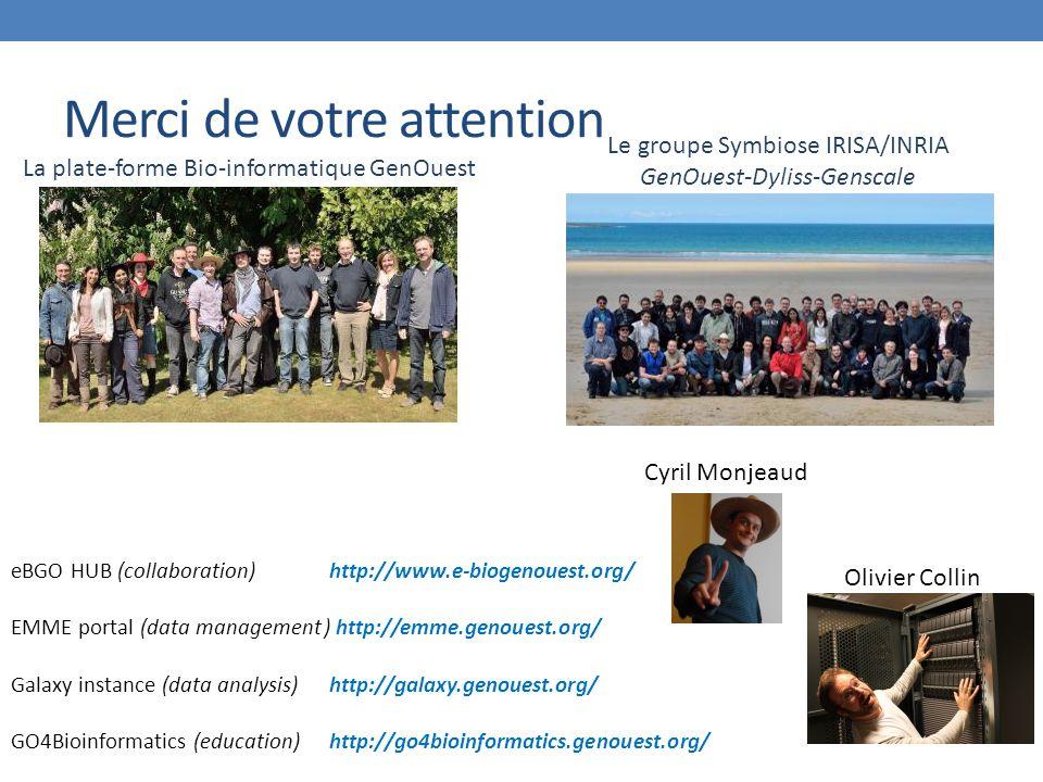 Merci de votre attention eBGO HUB (collaboration) http://www.e-biogenouest.org/ EMME portal (data management) http://emme.genouest.org/ Galaxy instance (data analysis) http://galaxy.genouest.org/ GO4Bioinformatics (education) http://go4bioinformatics.genouest.org/ Cyril Monjeaud Olivier Collin La plate-forme Bio-informatique GenOuest Le groupe Symbiose IRISA/INRIA GenOuest-Dyliss-Genscale