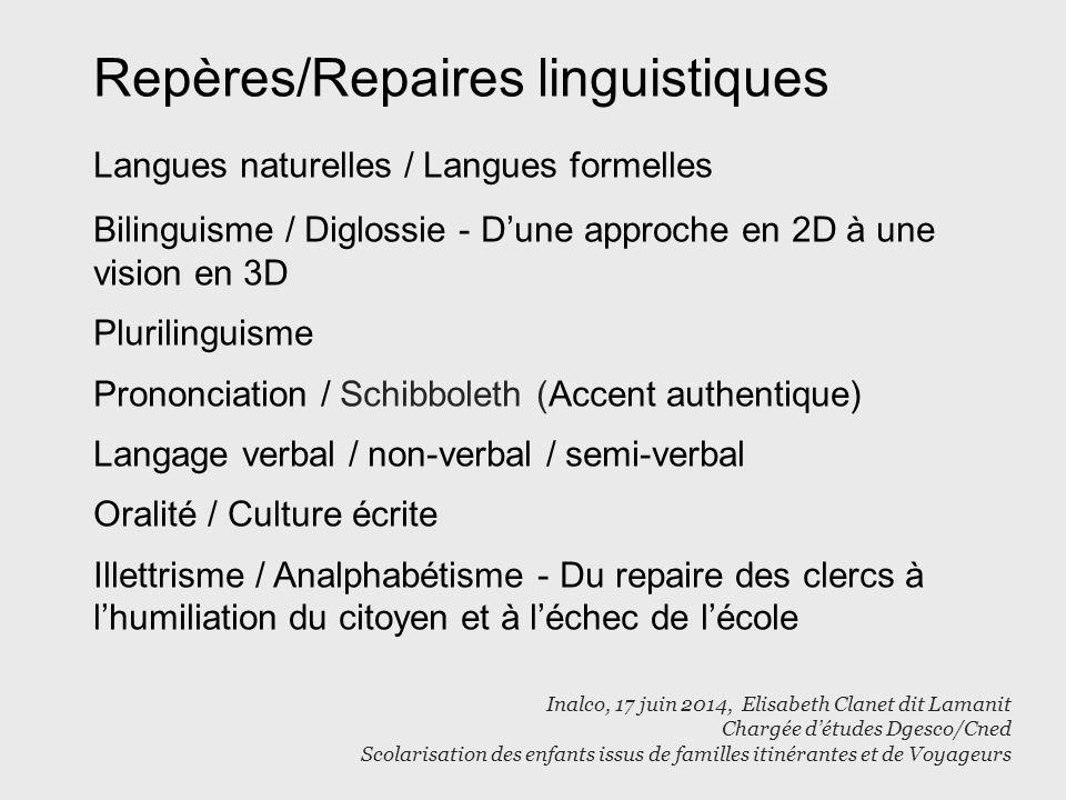 Repères/Repaires linguistiques Langues naturelles / Langues formelles Bilinguisme / Diglossie - D'une approche en 2D à une vision en 3D Plurilinguisme