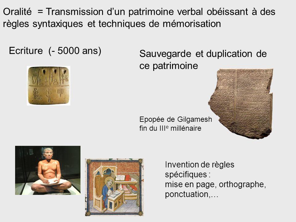 Oralité = Transmission d'un patrimoine verbal obéissant à des règles syntaxiques et techniques de mémorisation Invention de règles spécifiques : mise