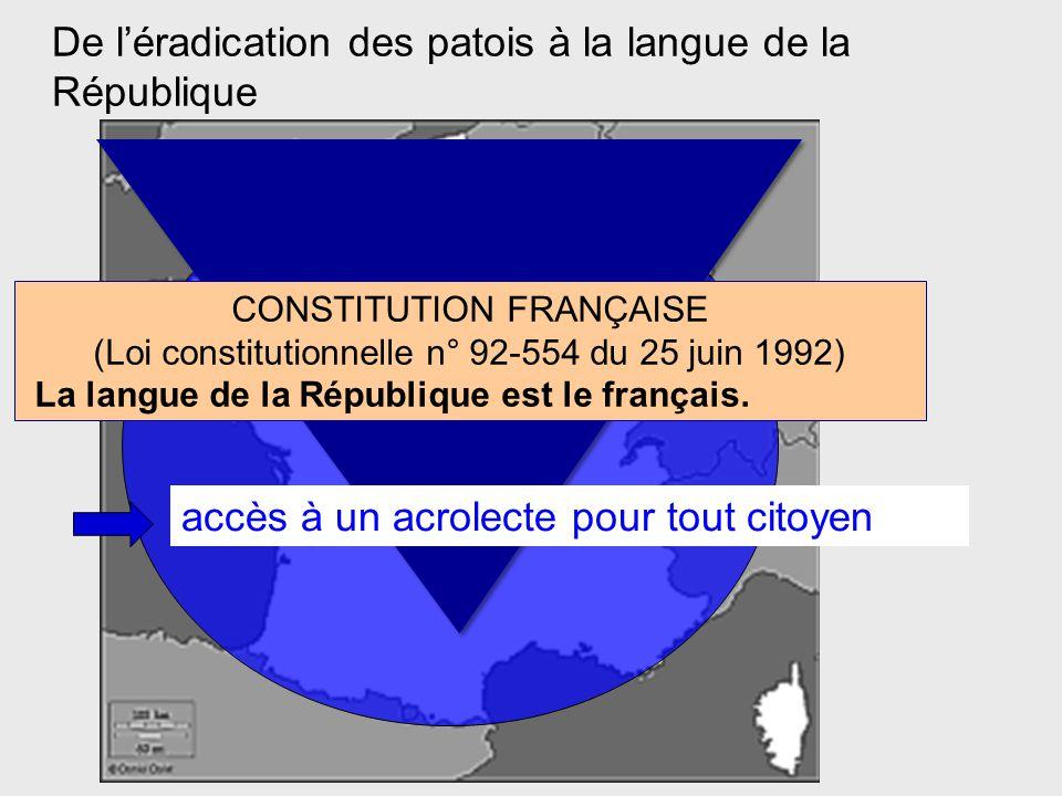 De l'éradication des patois à la langue de la République CONSTITUTION FRANÇAISE (Loi constitutionnelle n° 92-554 du 25 juin 1992) La langue de la République est le français.