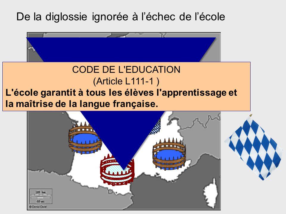 De la diglossie ignorée à l'échec de l'école CODE DE L'EDUCATION (Article L111-1 ) L'école garantit à tous les élèves l'apprentissage et la maîtrise d
