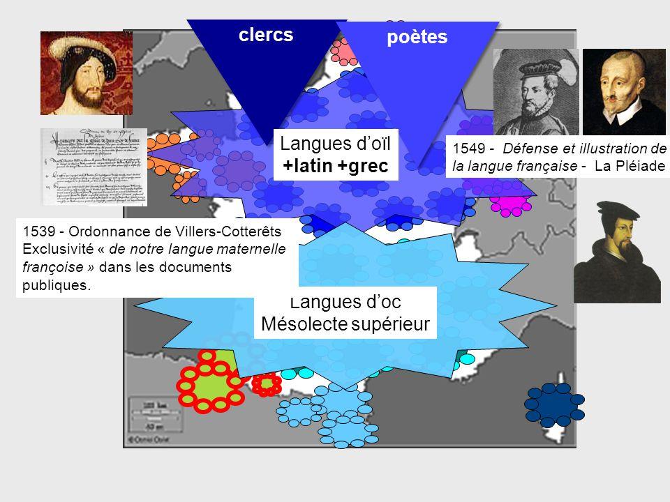 Langues d'oc Mésolecte supérieur 1539 - Ordonnance de Villers-Cotterêts Exclusivité « de notre langue maternelle françoise » dans les documents publiq