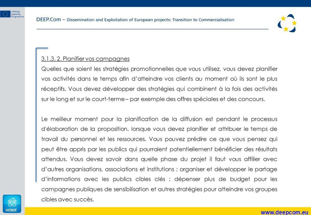 www.deepcom.eu 3.1.3. 2. Planifier vos campagnes Quelles que soient les stratégies promotionnelles que vous utilisez, vous devez planifier vos activit