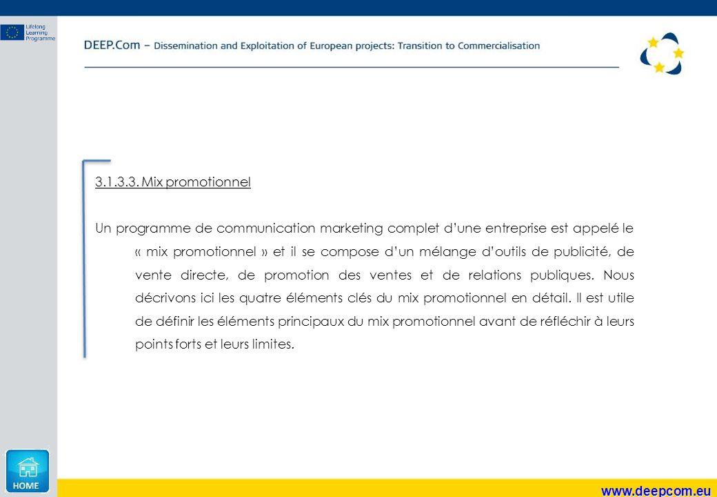 3.1.3.3. Mix promotionnel Un programme de communication marketing complet d'une entreprise est appelé le « mix promotionnel » et il se compose d'un mé