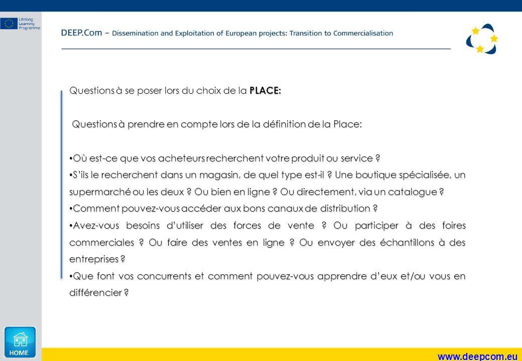 www.deepcom.eu Questions à se poser lors du choix de la PLACE: Questions à prendre en compte lors de la définition de la Place: Questions à prendre en