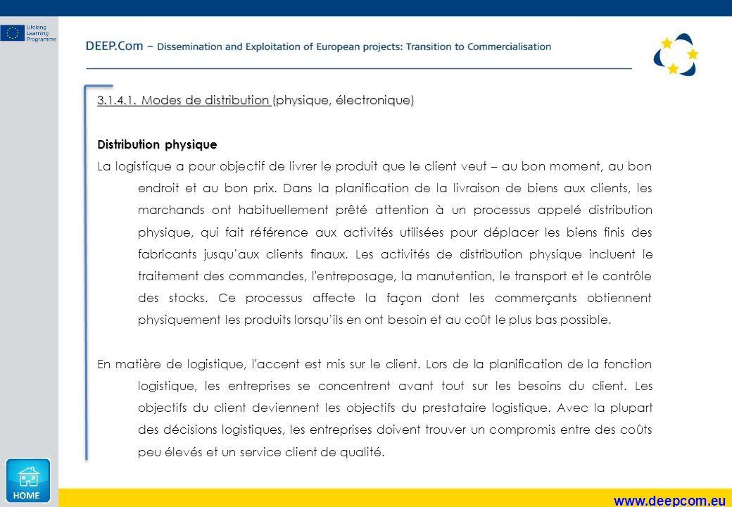 www.deepcom.eu 3.1.4.1. Modes de distribution (physique, électronique) Distribution physique La logistique a pour objectif de livrer le produit que le