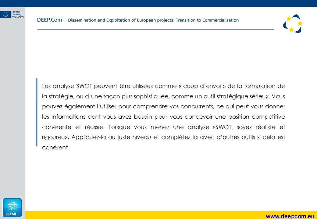 www.deepcom.eu Les analyse SWOT peuvent être utilisées comme « coup d'envoi » de la formulation de la stratégie, ou d'une façon plus sophistiquée, com