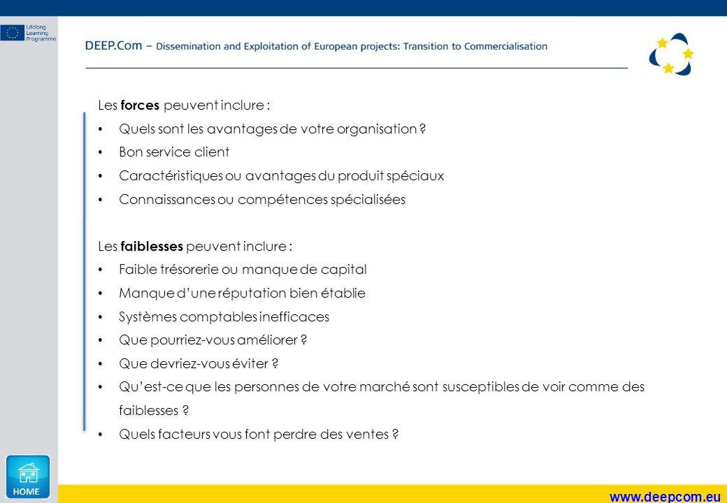 www.deepcom.eu Les forces peuvent inclure : Quels sont les avantages de votre organisation ? Quels sont les avantages de votre organisation ? Bon serv
