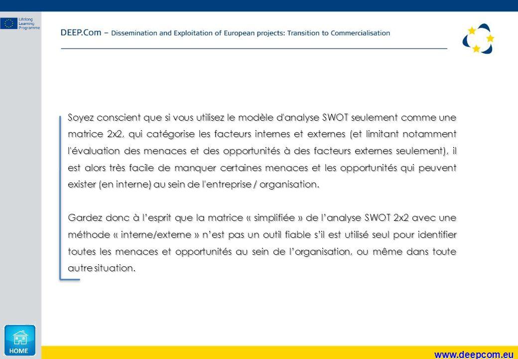 www.deepcom.eu Soyez conscient que si vous utilisez le modèle d'analyse SWOT seulement comme une matrice 2x2, qui catégorise les facteurs internes et