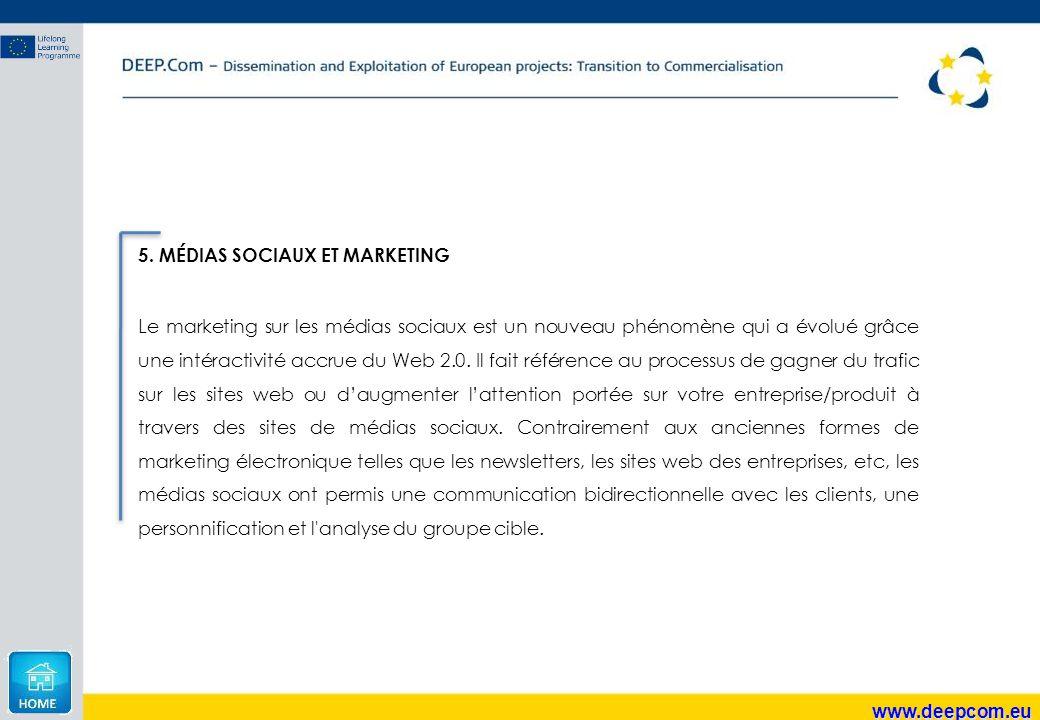 www.deepcom.eu 5. MÉDIAS SOCIAUX ET MARKETING Le marketing sur les médias sociaux est un nouveau phénomène qui a évolué grâce une intéractivité accrue