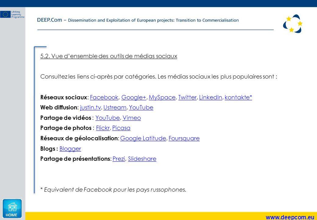 www.deepcom.eu 5.2. Vue d'ensemble des outils de médias sociaux Consultez les liens ci-après par catégories. Les médias sociaux les plus populaires so