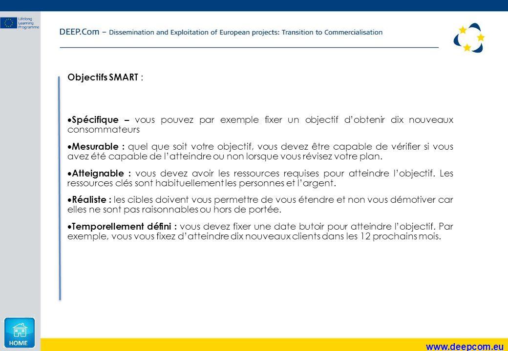 www.deepcom.eu Objectifs SMART :  Spécifique – vous pouvez par exemple fixer un objectif d'obtenir dix nouveaux consommateurs  Mesurable : quel que