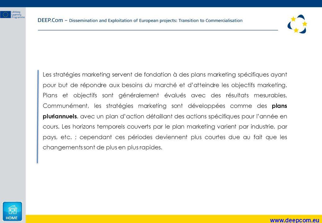 www.deepcom.eu Les stratégies marketing servent de fondation à des plans marketing spécifiques ayant pour but de répondre aux besoins du marché et d'a