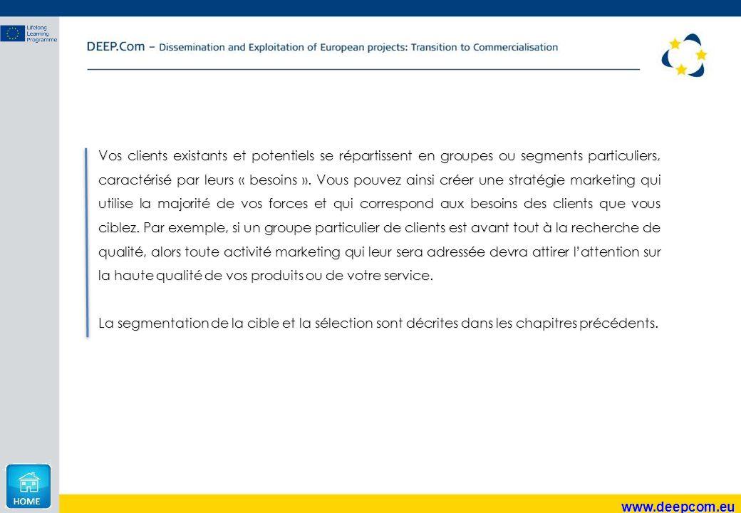 www.deepcom.eu Vos clients existants et potentiels se répartissent en groupes ou segments particuliers, caractérisé par leurs « besoins ». Vous pouvez