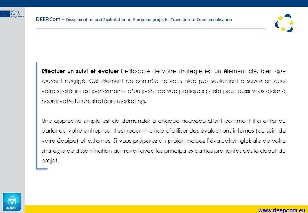 www.deepcom.eu Effectuer un suivi et évaluer l'efficacité de votre stratégie est un élément clé, bien que souvent négligé. Cet élément de contrôle ne