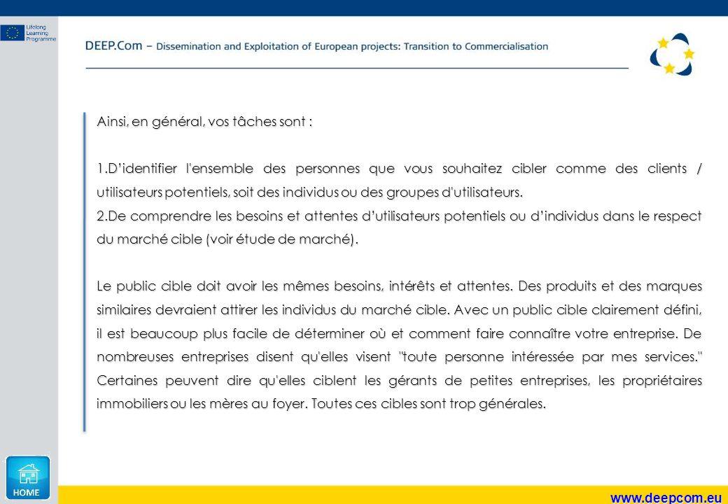 www.deepcom.eu Ainsi, en général, vos tâches sont : 1.D'identifier l'ensemble des personnes que vous souhaitez cibler comme des clients / utilisateurs