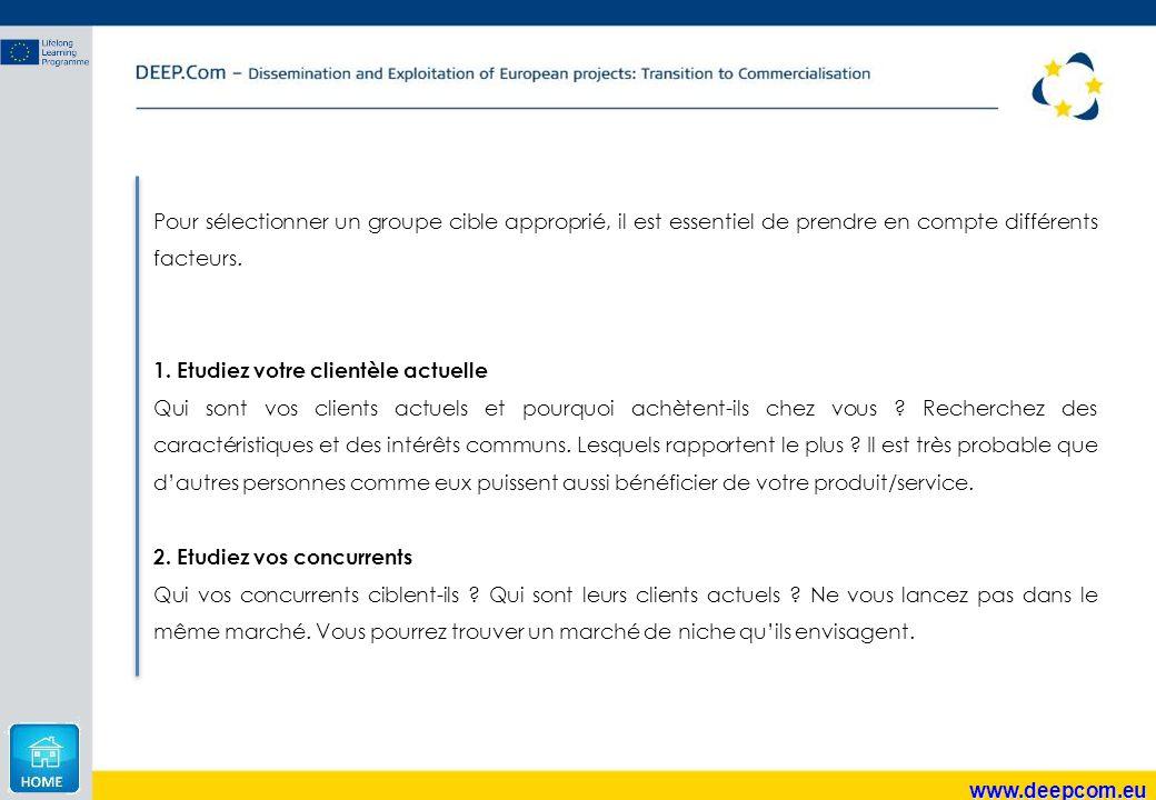 www.deepcom.eu Pour sélectionner un groupe cible approprié, il est essentiel de prendre en compte différents facteurs. 1. Etudiez votre clientèle actu
